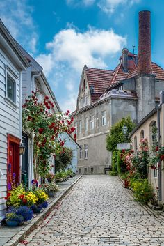 Old town streets of Stavanger, Norway. Mostly wooden houses.