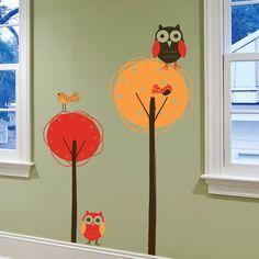 también para un pasillo con pajareras,búhos de fieltro y hojas de tela .En proyecto de Algodón de Luna