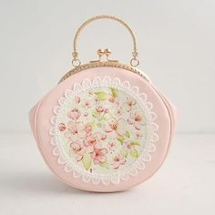 Cute Lolita Princess Mori Light Gold Metal Frame Bag Clasp Lock Handle Romantic Pink Cheery Pattern with White Cotton Lace Shoulder Bags