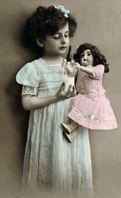 Free Dolls Clip Art - Vintage Photo Child Feeding Doll