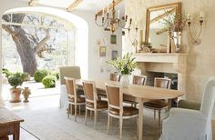 """Knowing that they wouldn't use a formal dining room, the couple created a flexible space. """"We use it for meetings, school projects, and of course family meals,"""" says Brooke. Antique side chairs are paired with Giannetti Home armchairs. Dining Room Design, Dining Room Furniture, Dining Rooms, Room Chairs, Side Chairs, Furniture Design, Funky Furniture, Painting Furniture, Luxury Furniture"""