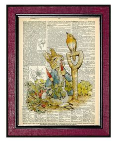PETER RABBIT Book Art Upcycled Dictionary Art by DogEarPrints, $9.87