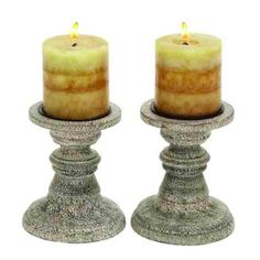 "Deco 79 51514 Wood Candle Holder Pr 6""H, 5""W -"