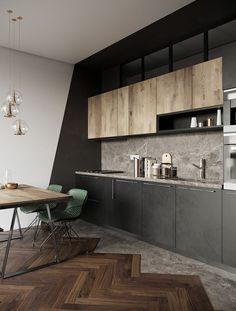 modern house design interior and exterior Kitchen Room Design, Modern Kitchen Design, Home Decor Kitchen, Kitchen Interior, Modern Kitchen Furniture, Industrial Kitchen Design, Loft Furniture, Industrial Dining, Kitchen Ideas