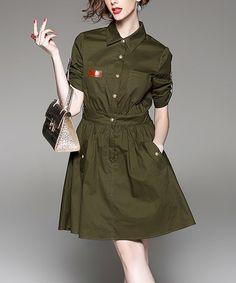 Look what I found on #zulily! Green Button-Up Silk-Blend Shirt Dress #zulilyfinds