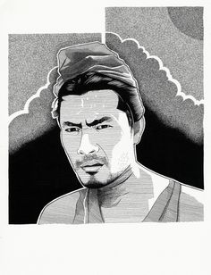 'Toshiro Mifune'  Ink on Paper  21x25cm ©Bren Luke