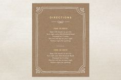 Directions Card - Hand Delivered Wedding Invitations