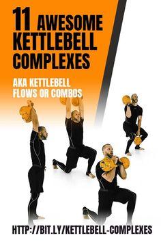 11 unique full-body kettlebell complexes, AKA kettlebell flow or combos. Best Kettlebell Exercises, Full Body Kettlebell Workout, Kettlebell Cardio, Kettlebell Training, Dumbbell Workout, Boxing Workout, Workout Men, Body Workouts, Workout Plans