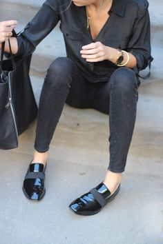 99% sure these are the Patent Black leather loafers from ZARA SS14 / Spring 2014 collection - chic black silk ribbon detailing on the front of oxford / shoe - Love her black shirt and skinny jeans
