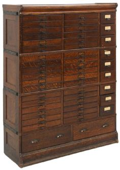 Oak cabinet has 4 sections with inset side panels, 2 large drawers in the base a. Cabinet Drawers, Cabinet Furniture, Filing Cabinet, Antique Cabinets, Oak Cabinets, Woodworking Furniture, Fine Woodworking, Library Cabinet, Inside A House