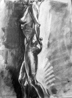 "Lisa. Reduction charcoal drawing. 18"" x 24"".    ©2010. melissainfantino.com"