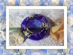 """Bohemian Czech Cobalt Blue Ashtray with """"Cake Flowers"""". Starting at $20"""