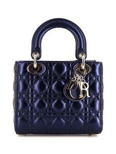 Sac Lady Dior, Lady Dior Mini, Faux Pearl Necklace, Metallic Blue, Handbags On Sale, Cloth Bags, Blue Bags, Small Bags, Christian Dior