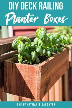 Turn your deck or balcony railing into a garden with these DIY railing planters! They attach with a simple french cleat with no visible hardware! Get the tutorial for these deck rail planters at The Handyman's Daughter! Hanging Rail Planter, Railing Planter Boxes, Herb Garden Planter, Diy Planter Box, Garden Boxes, Diy Herb Garden, Vertical Planter, Garden Kids, Porch Garden