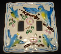 Vintage 1950s Blue Bird Ceramic Wall Switch Plate