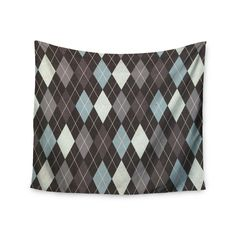"Heidi Jennings ""Argyle"" Blue Gray Wall Tapestry"