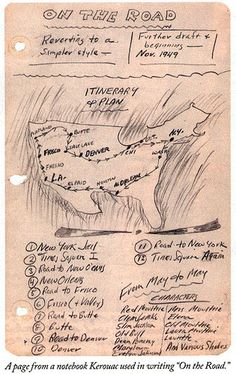 from Jack Kerouac's notes--the itinerary for On the Road, if you could call it that :)