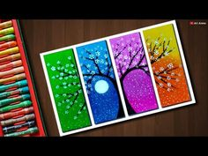 Flower Tree drawing with Oil Pastels - step by step Oil Pastel Drawings Easy, Oil Pastel Paintings, Oil Pastel Art, Easy Drawings, Oil Pastels, Tree Drawing Simple, Palm Tree Drawing, Plant Drawing, Drawing Flowers