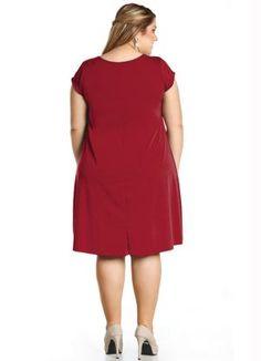 Tahari by asl tonal color block short sleeve a line lipstick Curvy Girl Fashion, Plus Size Fashion, Look Plus Size, Batik Dress, Beautiful Outfits, Beautiful Clothes, Flare Dress, Ideias Fashion, Short Sleeve Dresses