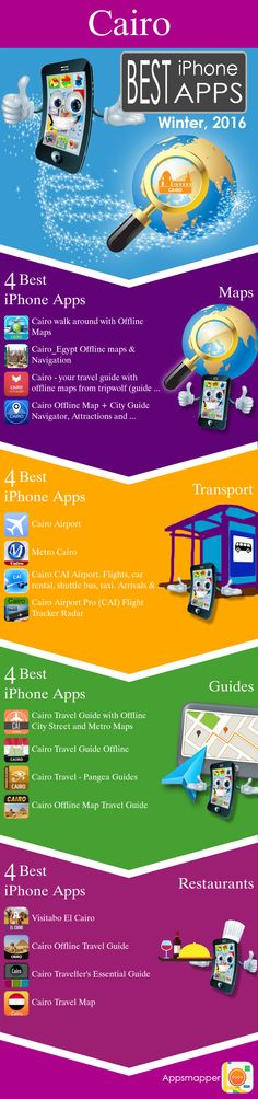 Cairo iPhone apps: Travel Guides, Maps, Transportation, Biking, Museums, Parking, Sport and apps for Students.
