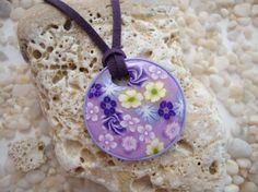 Purple Polymer Clay Millefiori Pendant by Fimoworks on Etsy