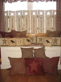Country prim shutters with cutout Stars...homespun handmade primitive pillows with crows & stars.