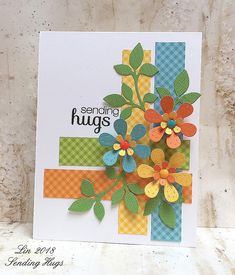Gingham Hugs Card created by Lin / Sending Hugs. Homemade Greeting Cards, Greeting Cards Handmade, Homemade Cards, Envelopes Decorados, Tarjetas Diy, Washi Tape Cards, Karten Diy, Cricut Cards, Handmade Birthday Cards