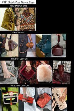 Bags Must haves,colors and trends Fall - Winter 2015-2016 woman fashion trend ---- Tendenze colori e forme Borse e borsette stagione Autunno-Inverno 2015-2016 moda donna