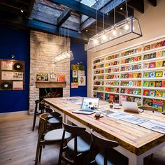 """""""Cop a load of the technicolor Music Room, an eating and working space filled with of Martin's Peruvian funk, cumbia and psyche records from the and Vinyl Cafe, Workspace Design, Open Kitchen, Commercial Interiors, Modern Luxury, Dining Area, London, Interior Design, Room"""