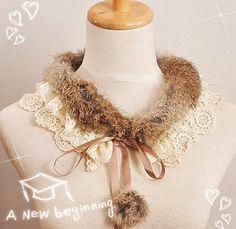 Korean version of the new sweet wild rabbit hair False the double lace balls false collar fur collar fur collar - Taobao