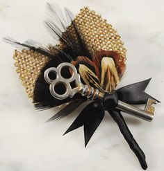 Key to my Heart Boutonniere with Black Feathers and Tweed