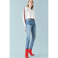 Forever21 High-Rise Knee-Slit Mom Jeans (1.680 RUB) ❤ liked on Polyvore featuring jeans, dark denim, forever 21, forever 21 jeans, highwaist jeans, blue high waisted jeans and blue jeans