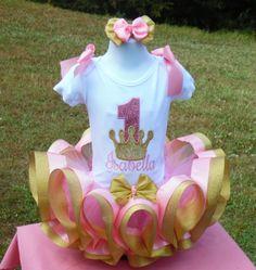 Princess crown birthday ribbon trim tutu set dress. by MommaMays