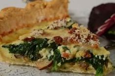 This delicious Quiche Recipe has a crisp pastry crust that is filled with a savory custard filling containing bacon, spinach, shallots, and grated cheese. From Joyofbaking.com With Demo Video