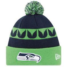 New Era Seattle Seahawks 2013 On-Field Player Sideline Sport Knit Hat - College Navy/Neon Green