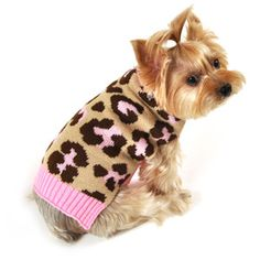 SimplyDog Dog Sweater, Pink & Brown Cheetah Print, Multiple Sizes Available