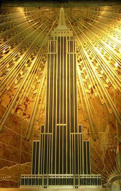 Art Deco plaque depicting Empire State Building, Empire State Building Interior, NYNY
