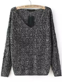 Dark Grey V Neck Long Sleeve Sweater