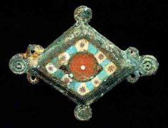 "6362. Roman fibula w mosaic glass inlay, II c. AD, 1.9"" x1.6"".  Antiquity Merchant"