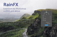 Ad: RainFX - Photoshop Extension by bbtools on Photoshop extension for creating rain effects. Variate angle, density, speed, wind strength, levels of rain to get the desired look. Color Photoshop, Photoshop Plugins, Free Photoshop, Photoshop Brushes, Photoshop Actions, Light Leak, Motion Blur, Cg Artist