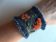 Embroidered Cuff Bracelet - OOAK - Embroidered Flower Bracelet-Hand Embroidered - Denim Bracelet by guldentaki