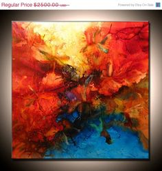 Contemporary Abstract Painting ,Large Original Modern Red Yellow Blue Abstract Fine Art By Henry Parsinia Large 36x36.  via Etsy.