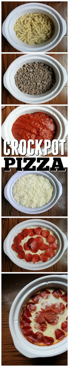 Crockpot Pizza recipe! It's so easy to make and feeds your family on busy nights. Love it!