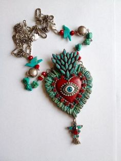 Relics and Artifacts altered piece using vintage Fred Harvey era turquoise pieces by Robin Sanchez Jewelry Crafts, Jewelry Art, Vintage Jewelry, Jewelry Accessories, Handmade Jewelry, Jewelry Design, Mexican Folk Art, Bijoux Diy, Sacred Heart