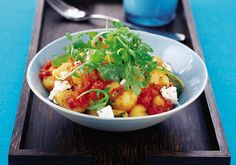 Red pepper and garlic gnocchi
