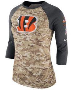 new product 22b10 ae7fe Nike Women s Cincinnati Bengals Salute To Service Three-Quarter Raglan T- Shirt   Reviews - Sports Fan Shop By Lids - Women - Macy s