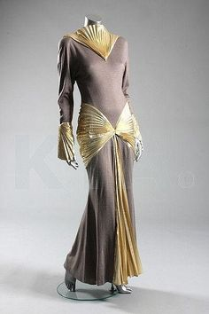 Thierry Mugler gown, 1980s, via Kerry Taylor Auctions.