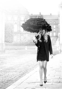 Beautiful black umbrella with ruffles by Lisbeth Dahl  www.artandmore-shop.de