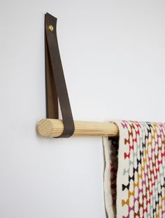 FOXTAIL + MOSS: DIY Leather + Dowel Textile Display with Centered by Design