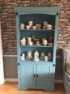 Dresser upcycled using Rustoleum Chalky Paint furniture paint in Belgrave complete with China cups, saucers and sandwich plates Rustoleum Chalked, Rustoleum Chalk Paint, Chalky Paint, Paint Furniture, Furniture Projects, Duck Egg Blue Chalk Paint, Moroccan Bedroom, Dining Room Inspiration, Living Area